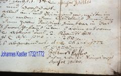 Johannes Kastler (*1732-1772) Unterschrift